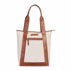 Mauve & Tan Mosaic Print Tote Bag
