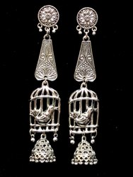 Oxidized Earrings with Jhumka