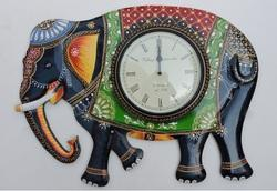 Hand Painted Elephant Design Wooden Clocks