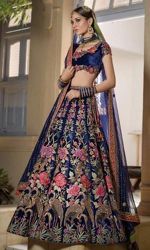 94434cd25e Semi-Stitched Indian Ethnic Designer Indian Velvet Navy Blue Bridal Lehenga,  Size: Free
