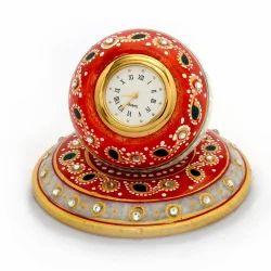 Golden Meenakari Work Table Clock 384