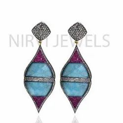 Blue Zade Ruby Earring