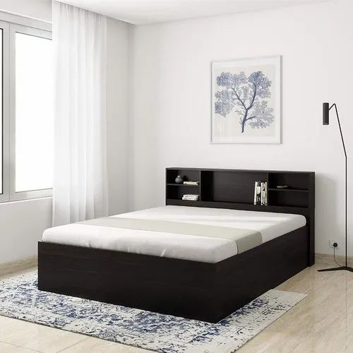 Brown Solimo Mars Engineered Wood Queen, Queen Size Bed In A Box