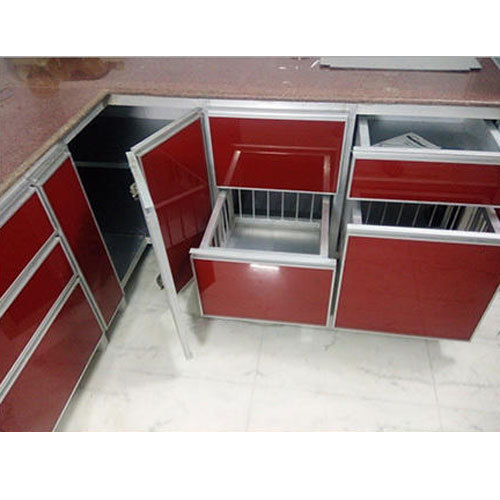 Red Aluminium Kitchen Cabinet, Rs 1250 /square Feet