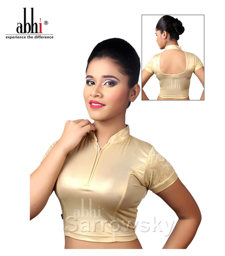 8c4e90fc5af Plain S High Neck Golden Stretchable Blouse With Zip DN2311