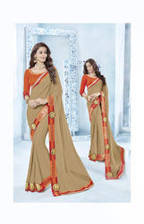 Silk & Georgette Brown Party Plain Saree with Blouse Piece