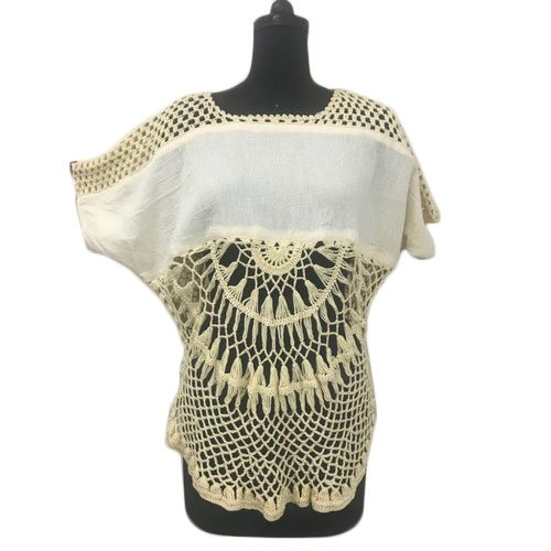 Cotton Round Neck Ladies Casual Wear Crochet Top