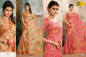 Cream And Pink Printed Earth Pink And Cream Women Saree