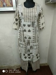 Party Wear Regular Bagru Printed Kurtis & palazo