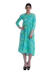 Laya Printed Ladies High-Waist Dress