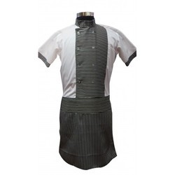 Service Boys Half Sleeve Chef Coat With Attach Apron