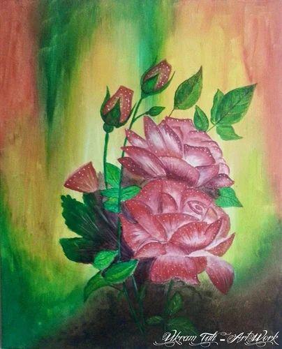 Red Rose - Acrylic on Framed Canvas Painting, ऐक्रेलिक कैनवास पेंटिंग, ऐक्रेलिक की कैनवास वाली ...
