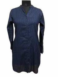 Rayon Blue Long Ladies Top