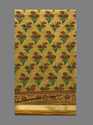 Flower Print With Golden Border Cotton Saree