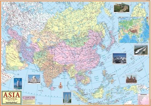 Multicolor Laminated Paper Asia Political Map, Size: 100x70, Rs 120 ...