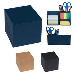 Accept Wood Color Paper Cube Box With Sticky Note Pad