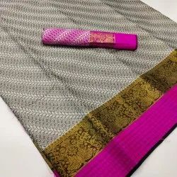 Casual Wear Border Kora Cotton Saree, 6 m (With Blouse Piece)