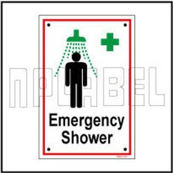 Red 592514 Emergency Shower Sign Plate
