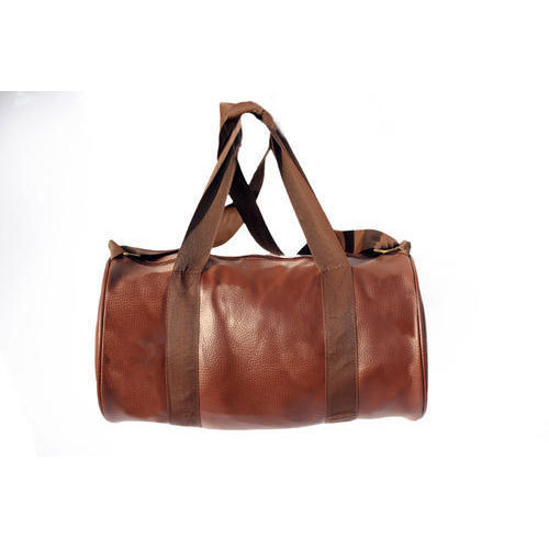 Brown Plain Faux Leather Gym Bag