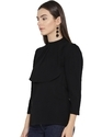 3/4 Sleeve Solid Black Women Top