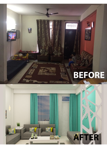 Living Room Designer With Small Budget Big Makeover In Noida Idg