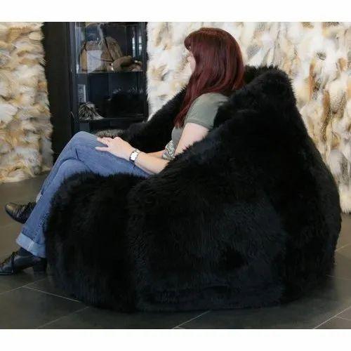 aca99c6920 Mollismoons XXXL Black Fur Bean Bag Chair