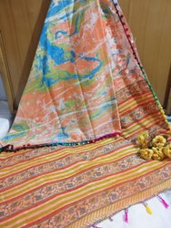 Girraj Printers Casual Wear Cotton Soft Mulmul Saree, 5.2 m (Separate Blouse Piece)
