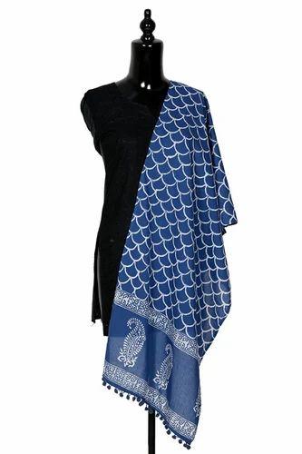 9769ea4fcc5f0a Khushi Handicraft 100% Cotton Indigo Blue Stole