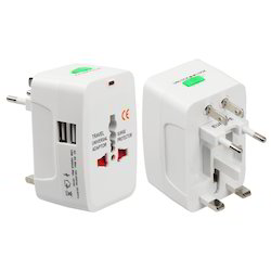 6A White Universal Travel Adapters With Dual USB