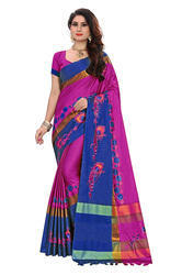 Women Beautiful Embroidery Design Work Cotton Silk Saree