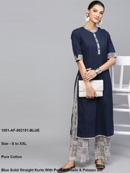 Blue Solid Straight Kurta With Pocket Details & Palazzo Set