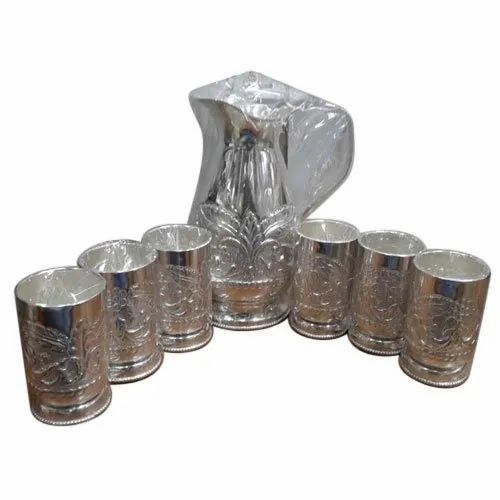 German Silver Plated Jug and Glass Set of 6