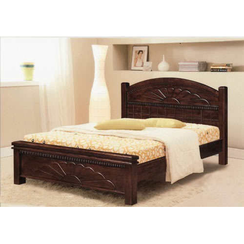 Wooden Brown Double Bed, Length: 6 feet