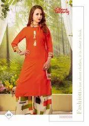 Rose-RSF Designer Rayon Printed Ladies Purse Style Kurtis With Plazo