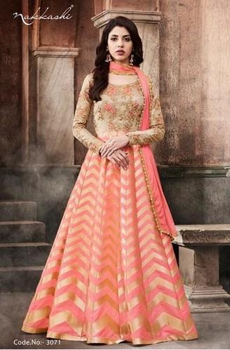 5ce0edf367 Georgette And Silk Peach 3071 Anarkali Suits Color, Rs 3450 /piece ...
