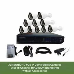 Navkar Systems Jensonic 10 Pcs IP Dome/Bullet Cameras With Smart Led With 16 Channel Hikvision Brand