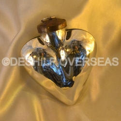 Heart Shape Silver Christmas Ball