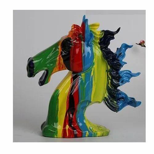 Multicolor Horse Home Decor Show Piece