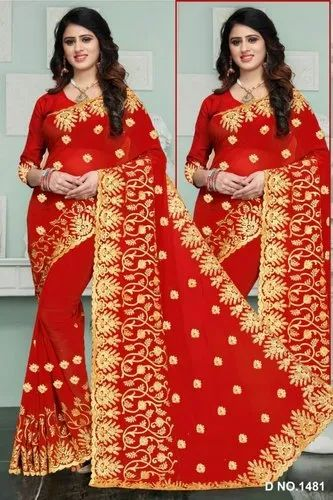 ee2fda69f10a91 Embroidered 60gm Georgette Fabric Saree