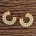 Brass Kundan Chand Earring With Gold Plating 300273
