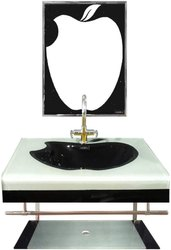 Apple Shape Black and Silver Lip Counter Wash Basin Full Set with Mirror, Shelf, Steel Stand.