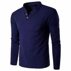 Cotton Plain Full Sleeve Collar T-Shirt