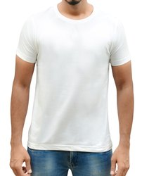 Mens Round Neck White Colour T Shirt