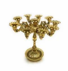Gold Plated 10 Arms Multi Candle Holder
