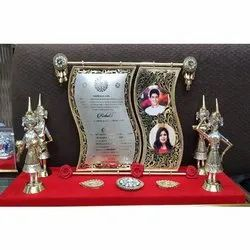 Golden Silver Plated Invitation Card, Size: 20 x 10 inch