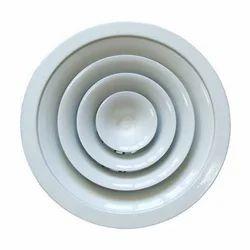 White Aluminium Ceiling Diffuser, Shape: Round