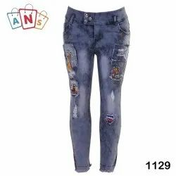 Regular High Rise Ladies Fancy Ripped Stretchable Jeans, Waist Size: 32
