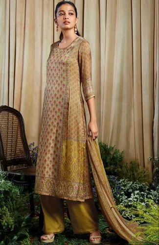 2c964a04fc Ganga Classic Chikoo With Occur Yellow Print Satin Printed Party Wear Salwar  Kameez