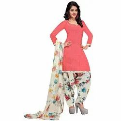 Rajnandini Peach Cotton Printed Unstitched Dress Material