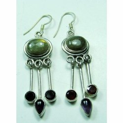 Multi Coloured Gemstone 925 Sterling Silver Fashion Earrings
